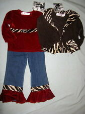 NWT Boutique Greggy Girl CHOCOLATE CHERRY 4 4T Set Jean Outfit Tiger Jacket