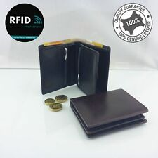 RFID Genuine Leather Men's Bi Fold Wallet 9 Cards Zipped Coin Notes Black Brown