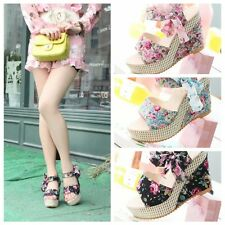 1Pair Female Fashion Slope With Thick Crust Sandals Floral Bow High-Heeled Shoes