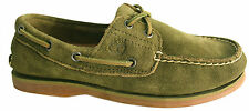 Timberland Classic 2 Eye Mens Boat Shoe Olive Green Leather Suede (1003R D23)