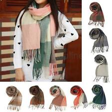 Women Ladies Winter Warm Long Cashmere Neck Scarf Shawl Tassels Pashmina Grid