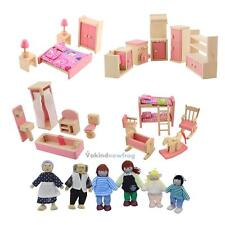 V1NF Wooden Doll Bathroom Furniture Dollhouse Miniature For Kids Child Play Toy