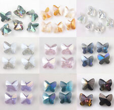10/20pcs Faceted Butterfly Crystal Glass Charm Loose Spacer Beads 8X5mm