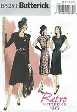 Butterick 5281 Misses' Dress and Belt Retro 1946   Sewing Pattern