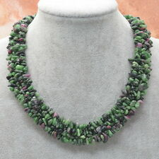 """16 3/8"""" NATURAL RUBY ZOISITE GEMSTONE 925 SILVER PLATED CHIP BAND NECKLACE"""