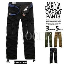 Mens Thicken Fleece Lined Cargo Pants Slacks Winter Work Cotton Pockets Trousers