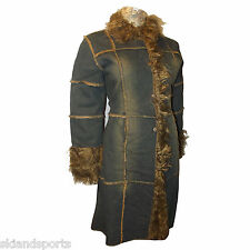 Miss Posh Denim Jacket Hippy Boho Long Faux Fur Lined and Trimmed Women's New