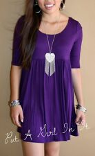 PLUS SIZE SOLID LITTLE PURPLE BOHO BABYDOLL 3/4 SLEEVE SCOOP MINI DRESS 1X 2X 3X