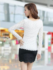 Ladies Stretch Casual Fashion Long Sleeve O-neck Women Top Blouse  T-Shirt Lace