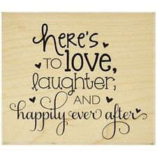 Hampton Art Wood Mounted Rubber Stamp 3.5-inch x 4-inch, Happily Ever After
