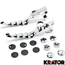 Chrome Hand Levers w/ Emblems for 2004-2015 Harley Davidson Sportsters XL / XR