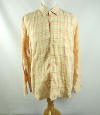 Tommy Bahama Mens Button Front Shirt L Large 100% Linen Plaid L/S Hawiian Camp
