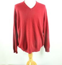 Club Room RED Mens Large V-Neck 2 ply Cashmere Pullover Knit Sweater Crew Coat