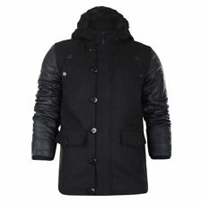 New Mens Brave Soul Coat Jacket Leather Look Sleeves Warm Winter Hooded