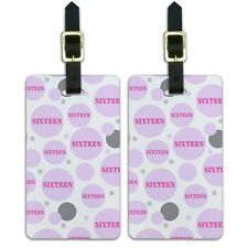 Luggage Suitcase Carry-On ID Tags Set of 2 Birthday Party Diamond Pattern Pink