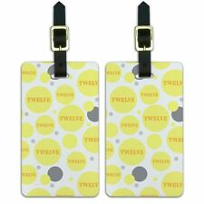 Luggage Suitcase Carry-On ID Tags Set of 2 Birthday Party Diamond Pattern Yellow