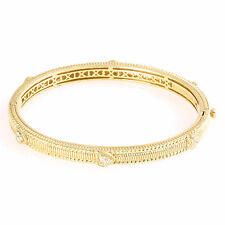 Judith Ripka 18k Gold Bangle with Pavé Diamond Hearts
