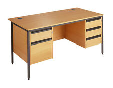 Maestro Straight H Frame Desk with 2 & 3 Drawer Fixed Pedestals H6P23 1532mm