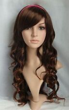 Fashion Womens Long Small Wave Hair Cosplay Party Full Wigs Oblique Bangs New