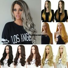 Real Thick Long Straight Curly Wavy Wig Dip Dye Half Wigs Cap Hair Nets Blonde