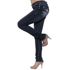 Season Story Women's Studded Embroidery Flap Pocket Skinny Jeans SS-AT116005