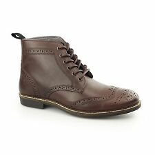 Red Tape GLAVEN Mens Leather Lace Up Traditional Brogue Derby Ankle Boots Bordo