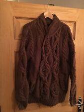MAHARISHI MENS BROWN DOUBLE BREAST CABLE KNIT CARDIGAN!!!