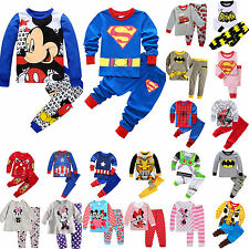 Baby Kids Sleepwear Cartoon T Shirt Pants Boys Girls Nightwear Pyjamas Pj's Suit
