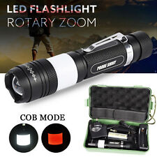 Tactical XM-L T6 LED Zoomable Flashlight Torch Cob Lamp + 18650 UK Charger Kits