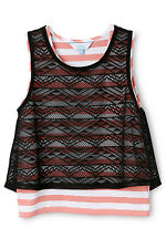NEW Tilii Stripe Tank with Lace Overlay Assorted
