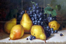 Grapes and Pears Tile Mural Kitchen Bathroom Wall Backsplash Marble Ceramic