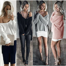 Fashion Womens Sexy Off The Shoulder Knitted Sweatshirt Baggy Casual Top Sweater
