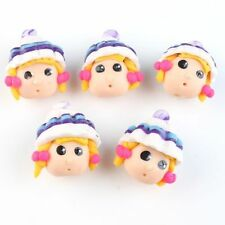 12pcs Colorful Cute Doll Head Charms FIMO Polymer Clay Beads Jewelry Decoratio J