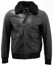 Men's Black Sheep Nappa Leather Bomber Jacket with Detachable Sheepskin Collar