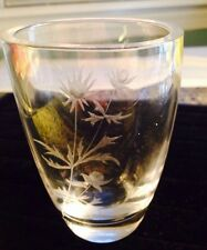 "Ekenas Sweden Art Glass Signed & Numbered WILDFLOWER 4.75"" 1970's Etched"
