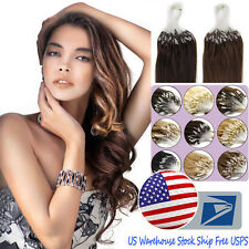 """USA STOCK 18""""-20"""" Loop Micro Ring Beads Tipped 100% Remy Human Hair Extensions"""