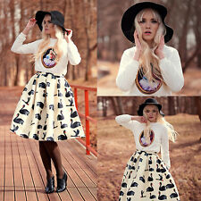 Womens Fashion Swan Printed Stretch Waist Casual Party Career Pleated Mini Skirt