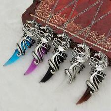 Men Dragon Head Wolf Tooth Opal Crystal Pendant Ball Beads Chain Necklace Gift