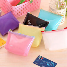 Transparent Candy PVC Travel Makeup Cosmetic Toiletry Zip Bag Pouch HU