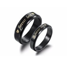 Steel titanium Forever love Couple Rings Wedding Promise Band His and Her  Rings