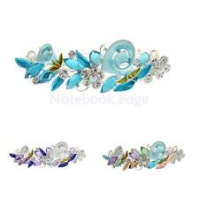 Women Girl Fashion Crystal Leaves Flower Hair Barrette Clips Metal Hairpin