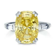 BERRICLE Silver Cushion Canary Yellow Cubic Zirconia CZ 3-Stone Cocktail Ring