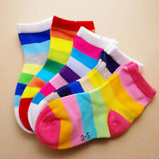 5 Pairs Kids Boys Girls Rainbow Color Cotton Comfy Socks Casual Socks New Gift