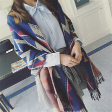 Winter Women Long Warm Soft Scarf Retro Style Cashmere Tassel Oversized Shawl