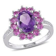 Sterling Silver Amethyst Created Pink Sapphire and Diamond Accent Cocktail Ring