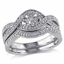 10k White Gold 1/3 Ct TW Diamond Floral Solitaire With Accents Bridal Ring Set