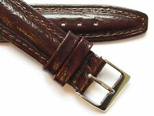 Bark finished dark brown leather quality watch band