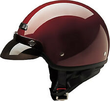Wine Open Face DOT Motorcycle Helmet with Neck Zip Curtain 4 sizes fnt