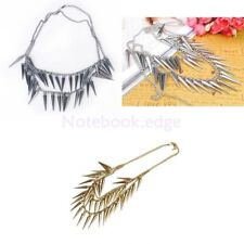 Punk Rock Double Layer Stud Spike Rivets Tassel Necklace Bib Collar Chain Choker