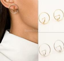 1 Pair Women Simple Chic Round Circle Silver/Gold Plated Ear Stud Earrings Gift